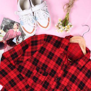 خرید مانتو چهارخونه قرمز مشکی دخترانه